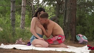 Sex with respect to the forest for a shy anticipating Russian teen