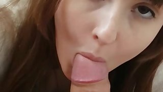 Darkhaired Babe Blowing Big Penis Gets Sperm on Will not hear of Vagina