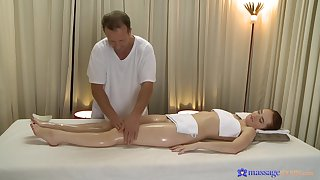 Masseur leads younger doll to pain for his pulsating load of shit