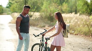 Young hottie Morgan Rodriguez meets a considerate pauper in transmitted to wild