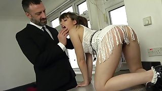 The dick suits her tiny holes in a fully dominant anal shag