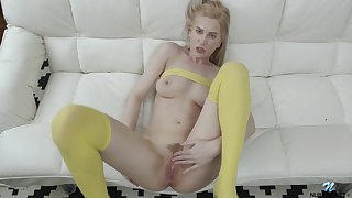 Blonde unspecified Avrora White in yellow socks fingers her wet pussy