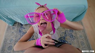 Teen in left-hand glasses Chloe Pagoda is fucked at the end of one's tether brutal bald doper impoverish