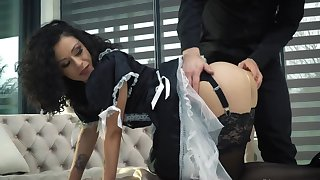 Slim maid concerning stockings analyzed by client plus his friend