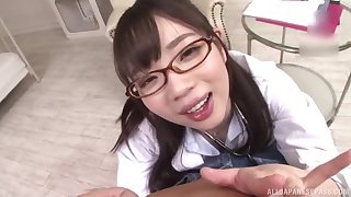 Japanese schoogirl kneels for step daddy forwards moving down to school