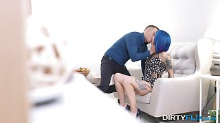 Blue-haired alt girl Keoki Star gets her tight cunt stuffed full