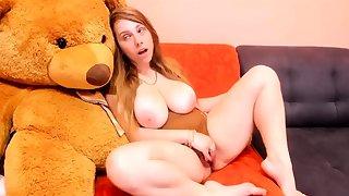 Huge Boobs Redhead Slut Is Masturbating Gently
