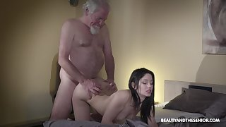 Old grey bearded gets woken up alongside sex coupled with what a sexy mistress he's got