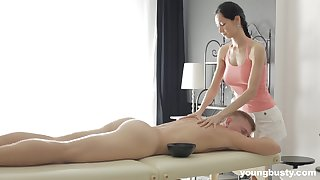 Slender masseuse all round big tits Emma L gets intimate all round yoke of her clients